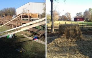 La situazione dopo il sequestro: tetto in costruzione e paglia in abbondanza