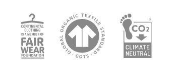 Prodotto certificato: Fair Wear - Global Organic Textile Standard - Climate Neutral